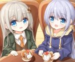 2girls :d bangs blue_eyes blue_hair blue_hoodie brown_vest chair checkerboard_cookie checkerboard_cookie_hair_ornament collared_shirt commentary_request cookie cookie_hair_ornament cup drawstring eyebrows_visible_through_hair food food_themed_hair_ornament green_jacket grey_hair hair_between_eyes hair_ornament hairclip hood hood_down hoodie jacket long_hair long_sleeves multiple_girls necktie on_chair open_clothes open_jacket open_mouth orange_neckwear original plaid_neckwear shirt sitting sleeves_past_wrists smile very_long_hair vest white_shirt yuuhagi_(amaretto-no-natsu)