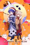 2girls adapted_costume ahoge animal back-to-back blue_eyes blue_hair blush braid buna_shimeji_(keymush) chinese_zodiac closed_mouth doremy_sweet dress feathered_wings flower full_body hair_flower hair_ornament happy_new_year hat holding holding_animal japanese_clothes kimono kishin_sagume long_sleeves looking_at_viewer multiple_girls new_year nightcap pom_pom_(clothes) purple_kimono red_eyes ship short_hair silver_hair single_wing smile tail tapir_tail touhou watercraft wings year_of_the_rat