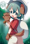 >_< 1girl animal_ears ass backpack bag bangs blue_eyes blurry blurry_background blush brown_gloves claw_pose closed_eyes commentary_request depth_of_field dog_ears dog_girl dog_tail eyebrows_visible_through_hair flying_sweatdrops gloves green_hair grey_headwear hair_between_eyes hand_up helmet highres kaban_(kemono_friends) kemono_friends kemonomimi_mode makuran open_mouth paw_gloves paws red_shirt shirt short_hair short_sleeves shorts solo standing tail thought_bubble wavy_mouth white_shorts