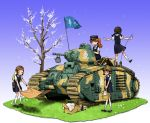 4girls adrian_helmet anyan_(jooho) blonde_hair blue_eyes braid bread brown_hair camouflage caterpillar_tracks char_b1 collared_shirt commentary_request flag food french_text gradient gradient_background grass ground_vehicle helmet highres holding kepi korean_commentary long_hair medium_skirt military military_vehicle motor_vehicle multiple_girls open_mouth original picnic_basket ponytail shirt shoes short_hair short_sleeves sitting skirt smile socks standing tank tree twin_braids yellow_eyes
