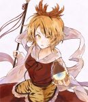 1girl animal_print bishamonten's_pagoda black_hair blonde_hair breasts dress hair_ornament hisona_(suaritesumi) holding holding_spear holding_weapon long_sleeves looking_at_viewer medium_breasts medium_hair multicolored_hair parted_lips polearm red_dress shawl simple_background solo spear streaked_hair tiger_print toramaru_shou touhou weapon white_background wide_sleeves yellow_eyes