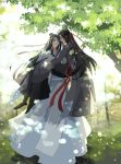 2boys artist_name black_footwear black_hair brown_eyes carrying chinese_clothes day eye_contact hair_ribbon headband highres long_hair looking_at_another male_focus mo_dao_zu_shi multiple_boys muse_(rainforest) outdoors red_ribbon ribbon standing tree very_long_hair wangji_lan white_headband wide_sleeves wuxian_wei yaoi