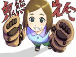1girl blush boruto:_naruto_next_generations brown_hair gloves hair_ornament hairclip highres kimurayou103 naruto naruto_(series) onikuma_enko sandals solo teeth white_background
