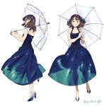 1girl bangs bare_shoulders blue_dress blunt_bangs blush brown_hair dress full_body high_heels highres looking_at_viewer medium_hair multiple_views original parted_lips profile signature simple_background sleeveless sleeveless_dress transparent transparent_umbrella umbrella umishima_senbon white_background