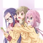 3girls :d black-framed_eyewear brown_eyes brown_hair cardigan cellphone commentary_request eyebrows_visible_through_hair fang from_side glasses green_eyes grin hair_between_eyes highres inuyama_aoi kagamihara_nadeshiko long_sleeves multiple_girls oogaki_chiaki open_mouth phone pink_hair pink_scarf pointing porikeracchou purple_hair red_scarf scarf school_uniform skin_fang smartphone smile striped striped_scarf thick_eyebrows twintails upper_body yurucamp