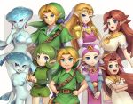 1boy 4girls age_comparison belt blonde_hair blue_eyes blue_skin brown_hair cucco dress earrings gonzarez green_hair green_headwear green_shirt green_shorts green_tunic jewelry link long_hair looking_at_viewer malon multiple_girls pink_dress pointy_ears princess_ruto princess_zelda saria shield shirt shorts smile sword the_legend_of_zelda the_legend_of_zelda:_ocarina_of_time violet_eyes weapon white_dress