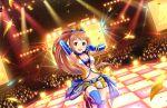 armpits blush brown_eyes brown_hair dress idolmaster_cinderella_girls_starlight_stage long_hair ponytail smile wakabayashi_tomoka