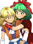 2girls arm_ribbon arm_warmers bangs blonde_hair commentary_request dress eyebrows_visible_through_hair front_ponytail green_eyes green_hair hair_ribbon highres hug kagiyama_hina mito_(mo96g) mizuhashi_parsee multiple_girls parted_lips pointy_ears red_dress ribbon short_sleeves simple_background smile touhou white_background white_neckwear