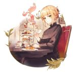 1girl blonde_hair breasts chair cup expressionless folded_ponytail food fruit green_eyes half-closed_eyes hisona_(suaritesumi) holding holding_cup looking_at_viewer medium_breasts original short_hair sidelocks simple_background sitting smoke solo strawberry strawberry_shortcake teacup tiered_tray uniform white_background