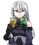 1girl ak-15_(girls_frontline) chocolate commentary_request drink dutchko girls_frontline gloves korean_commentary milo_(drink) nesquik silver_hair solo tactical_clothes violet_eyes