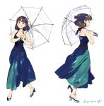 1girl bangs bare_shoulders blue_dress blunt_bangs blush brown_hair closed_eyes dress full_body high_heels highres medium_hair multiple_views original parted_lips profile signature simple_background sleeveless sleeveless_dress smile transparent transparent_umbrella umbrella umishima_senbon white_background