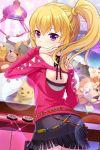 1girl alternative_girls blonde_hair blouse blush crane_game from_behind hand_on_own_cheek highres miniskirt mizushima_airi official_art pink_blouse ponytail skirt stuffed_animal stuffed_toy violet_eyes