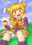 1girl armor blonde_hair blush commentary_request day double_bun food food_on_face grass hakuyou_(_hakuyou) haniwa_(statue) highres japanese_armor joutouguu_mayumi looking_at_viewer onigiri outdoors rice rice_on_face sitting sky solo touhou wily_beast_and_weakest_creature yellow_eyes
