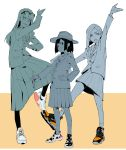3girls absurdres arm_up asakusa_midori black_legwear blazer eizouken_ni_wa_te_wo_dasu_na! eyewear_on_head freckles glasses hat highres jacket kanamori_sayaka limited_palette makai mizusaki_tsubame multiple_girls necktie open_mouth pencil pleated_skirt pose school_uniform shoes skirt smile sneakers standing standing_on_one_leg