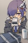 1boy bag bangs cardigan commentary cup drinking_straw earrings hair_ornament hair_over_one_eye hand_on_head highres holding holding_phone hood hoodie jewelry looking_at_viewer male_focus nail_polish necktie neko_860 original otoko_no_ko phone purple_hair shirt short_hair simple_background skull_hair_ornament solo text_messaging violet_eyes