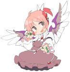 1girl alternate_hairstyle animal_ears blush brown_dress claw_pose commentary_request dress earrings eyebrows_visible_through_hair fang feathered_wings fingernails frills green_nails grey_eyes hands_up ini_(inunabe00) jewelry long_fingernails long_sleeves looking_at_viewer mystia_lorelei open_mouth pink_hair ponytail shirt short_hair simple_background skin_fang smile solo touhou upper_body white_background white_shirt wings