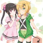 2girls :o ;t akatsuki_kirika bangs black_camisole black_hair blonde_hair blush bow breasts camisole closed_mouth collarbone commentary_request crepe demon_tail drawstring dress eating eyebrows_visible_through_hair food green_eyes green_jacket green_shorts hair_between_eyes hair_bow hair_ornament holding holding_food hood hood_down hooded_jacket jacket kaiware-san midriff multiple_girls navel parted_lips pink_bow pink_dress puffy_short_sleeves puffy_sleeves senki_zesshou_symphogear short_shorts short_sleeves shorts sidelocks small_breasts striped striped_legwear tail thigh-highs tsukuyomi_shirabe twintails twitter_username violet_eyes x_hair_ornament