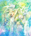 1girl 888myrrh888 aqua_eyes aqua_hair bangs blush capelet dress flower hair_ornament hairband hatsune_miku highres holding leaf long_hair one_eye_closed open_mouth pom_pom_(clothes) rabbit rabbit_yukine snow snowflake_print snowflakes solo very_long_hair vocaloid white_capelet white_dress white_flower yuki_miku yuki_miku_(2015)