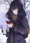 1girl backpack bag bangs bare_tree black_eyes blush brown_gloves cellphone coat cup freckles glasses gloves highres long_hair looking_at_viewer original outdoors phone scarf smartphone solo starbucks sweater tree winter_clothes winter_coat yasukura_(shibu11)