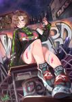 1girl absurdres bangs black_footwear black_hoodie black_shorts blush breasts commentary_request graffiti grin highres hood hoodie huge_filesize large_breasts long_sleeves looking_at_viewer mayoichi original outdoors paint shoes short_hair short_shorts shorts sitting smile solo
