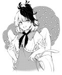 1girl animal animal_on_head bangs bird bird_wings breasts chick dress greyscale hand_on_hip hisona_(suaritesumi) looking_at_viewer medium_breasts monochrome multicolored_hair niwatari_kutaka on_head open_mouth puffy_short_sleeves puffy_sleeves shirt short_sleeves smile solo tail touhou white_background wings