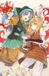 2girls apron armor armored_dress blonde_hair blue_hair bob_cut double_bun dress fire gauntlets green_ribbon hair_ribbon haniyasushin_keiki head_scarf hisona_(suaritesumi) holding jewelry joutouguu_mayumi long_hair looking_at_viewer magatama multiple_girls necklace open_mouth pocket puffy_short_sleeves puffy_sleeves red_eyes red_ribbon ribbon short_hair short_sleeves shorts simple_background tools touhou yellow_dress yellow_eyes