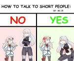 2girls abineko ak-15_(girls_frontline) anger_vein angry bending chart english_text girls_frontline hair_ornament hairclip height_difference hexagram highres how_to_talk_to_short_people long_hair multiple_girls negev_(girls_frontline) one_eye_covered pink_hair silver_hair smug star_of_david