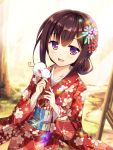 1girl animal animal_on_shoulder bangs blurry blurry_background blush brown_eyes brown_hair commentary day depth_of_field diffraction_spikes dutch_angle floral_print hair_up happy_new_year japanese_clothes kimono light_rays long_hair looking_at_viewer mouse mouse_on_shoulder new_year obi open_mouth original outdoors red_kimono ryoumoto_ken sash solo sunbeam sunlight upper_body