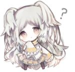 1girl :< ? bangs black_legwear brown_eyes brown_scarf chibi closed_mouth commentary_request cottontailtokki frilled_skirt frilled_sleeves frills full_body grey_hair head_tilt izumo_miyako jacket long_hair long_sleeves looking_at_viewer no_shoes pantyhose pleated_skirt princess_connect! princess_connect!_re:dive scarf simple_background skirt sleeves_past_fingers sleeves_past_wrists solo standing two_side_up very_long_hair white_background white_jacket yellow_skirt