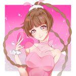 animal_ears big_eyes brown_hair douluo_dalu dress heart highres long_braid manhua pink_dress rabbit_ears xiao_wu_(douluo_dalu)