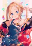 1girl :o abigail_williams_(fate/grand_order) ana_(rznuscrf) arm_up bandaid bangs bare_shoulders black_legwear blonde_hair blue_eyes blush bottle bow breasts candy collarbone commentary_request crossed_bandaids earrings fate/grand_order fate_(series) food head_tilt heart_lollipop jacket jewelry lollipop long_hair looking_at_viewer nail_polish off_shoulder open_clothes open_jacket overall_shorts pantyhose parted_bangs parted_lips pill red_jacket red_nails small_breasts solo star striped striped_background suction_cups tank_top tentacles twintails vertical-striped_background vertical_stripes white_tank_top