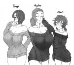 3girls :3 :d alternate_hairstyle aran_sweater arm_at_side arm_under_breasts ayako_(twrlare) bare_shoulders black_sweater blush breasts character_name collarbone commentary covered_nipples cowboy_shot english_commentary eyebrows_visible_through_hair eyes_visible_through_hair forehead freckles greyscale hair_over_one_eye hand_on_hip hand_on_own_cheek hand_to_own_mouth hand_up huge_breasts long_hair long_sleeves looking_at_viewer low_twintails mari_(twrlare) mature mole mole_under_eye monochrome mother_and_daughter mouth_visible_through_hair multiple_girls no_pants off-shoulder_sweater off_shoulder open_mouth original parted_lips ponytail ribbed_sweater saya_(twrlare) short_hair short_twintails siblings simple_background single_bare_shoulder sisters sleeves_past_wrists smile sweater twintails twrlare white_background