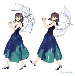 1girl bangs bare_shoulders blue_dress blunt_bangs blush brown_hair dress from_side full_body high_heels highres looking_at_viewer medium_hair multiple_views original signature simple_background sleeveless sleeveless_dress smile transparent transparent_umbrella umbrella umishima_senbon white_background