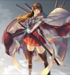 1girl bare_shoulders black_footwear black_hair boots brown_eyes detached_sleeves feet_out_of_frame from_below hair_ornament hairclip haruna_(kantai_collection) headgear holding holding_sword holding_weapon kantai_collection katana long_hair nontraditional_miko oki_(koi0koi) remodel_(kantai_collection) sheath solo sword thigh-highs thigh_boots unsheathing weapon wide_sleeves