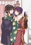 2girls alternate_costume alternate_hairstyle bangs black_hair cellphone commentary_request diagonal_bangs eyebrows_visible_through_hair floral_print flower green_kimono hair_bun hair_flower hair_ornament hair_ribbon holding holding_phone idolmaster idolmaster_shiny_colors japanese_clothes kimono looking_at_another multiple_girls phone purple_hair red_kimono ribbon self_shot shirase_sakuya side_ponytail smartphone takeshisu tanaka_mamimi tying violet_eyes yellow_eyes