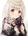 1girl black_jacket food fringe_trim gradient gradient_background highres holding jacket long_sleeves looking_at_viewer medium_hair original parted_lips plaid plaid_scarf scarf sidelocks silver_hair solo sweater takoyaki upper_body violet_eyes weri