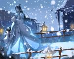 2boys animal architecture black_hair child chinese_clothes east_asian_architecture hand_up highres holding holding_animal lantern long_hair male_focus mo_dao_zu_shi multiple_boys muse_(rainforest) outdoors rabbit railing sidelocks snowing wangji_lan white_robe