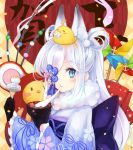 1girl animal animal_ear_fluff animal_ears animal_on_head azur_lane bird black_gloves blue_eyes blue_kimono blush bowl chick chinese_zodiac closed_mouth commentary_request eating floral_print fork frilled_sleeves frills fur_collar gloves hair_rings highres holding holding_bowl holding_fork japanese_clothes kasumi_(azur_lane) kimono long_hair long_sleeves looking_at_viewer manjuu_(azur_lane) mochi new_year obi on_head otogi_kyouka print_kimono sash solo upper_body white_hair wide_sleeves yagasuri year_of_the_rat