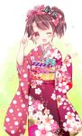 1girl ;d black_bow blue_bow blush bow brown_hair commentary_request floral_print flower hair_bow hair_flower hair_ornament head_tilt heart highres japanese_clothes kimono long_sleeves obi one_eye_closed open_mouth original pinching_sleeves pink_flower pink_rose print_bow print_kimono red_bow red_eyes red_kimono rico_(pico-ba) rose rose_print sash side_ponytail sleeves_past_wrists smile solo v