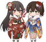 2girls arrow black_hair blue_kimono brown_eyes brown_hair chibi commentary_request ema floral_print flower fur-trimmed_kimono fur_trim furisode hair_flower hair_ornament hamaya japanese_clothes kaga_(kantai_collection) kantai_collection kimono long_hair looking_at_viewer machi_(ritovoyage) multiple_girls nagato_(kantai_collection) no_headgear print_kimono red_eyes red_kimono side_ponytail simple_background twig white_background