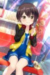 1girl absurdres alternative_girls blush closed_mouth eating food hand_on_own_face highres jacket no_socks short_hair tachibana_naomi takoyaki