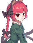 1girl animal_ears black_bow blush bow braid cat_ears dress eyebrows_visible_through_hair frills from_side green_dress hair_bow highres juliet_sleeves kaenbyou_rin long_hair long_sleeves looking_at_viewer multiple_tails puffy_sleeves red_eyes redhead simple_background smile solo tail touhou twin_braids two_tails upper_body white_background yanyan_(shinken_gomi)
