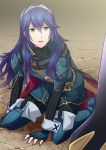 1boy 1girl ameno_(a_meno0) bangs black_pants black_sweater blue_eyes blue_footwear blue_gloves blue_hair boots eyebrows_visible_through_hair fingerless_gloves fire_emblem fire_emblem:_kakusei fire_emblem_13 fire_emblem_awakening gloves hair_between_eyes hairband intelligent_systems kneeling long_hair long_sleeves lucina_(fire_emblem) my_unit_(fire_emblem:_kakusei) nintendo open_mouth pants robin_(fire_emblem) shiny shiny_hair solo sweater thigh-highs thigh_boots turtleneck turtleneck_sweater very_long_hair