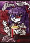 1girl 3d_glasses animal_ears blush_stickers food long_hair long_sleeves movie_theater necktie open_mouth popcorn purple_hair rabbit_ears red_neckwear reisen_udongein_inaba shirt sitting solo suenari_(peace) touhou upper_teeth white_shirt