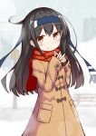 1girl absurdres alternate_costume black_hair blue_headband blush brown_coat brown_eyes coat commentary_request eyebrows_visible_through_hair hair_between_eyes hatsushimo_(kantai_collection) headband highres ichi kantai_collection long_hair long_sleeves pocket red_scarf remodel_(kantai_collection) scarf smile solo upper_body