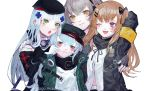 404_(girls_frontline) 4girls :3 :d :o annoyed arm_up armband bangs belly_peek black_bow black_gloves black_headwear black_scarf blue_hair blunt_bangs bow brown_hair cheek_poking closed_mouth cross_hair_ornament fingerless_gloves g11_(girls_frontline) girls_frontline gloves green_eyes grey_hair hair_bow hair_ornament hairclip hand_on_another's_shoulder hat highres hk416_(girls_frontline) jacket long_hair looking_at_another looking_away mochacot multiple_girls one_eye_closed one_side_up open_clothes open_jacket open_mouth partially_unbuttoned poking red_eyes scar scar_across_eye scarf shirt simple_background smile twitter_username ump45_(girls_frontline) ump9_(girls_frontline) upper_body white_background white_gloves white_shirt yellow_eyes