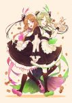 2girls alternate_costume apron beige_background black_legwear breasts brown_hair cookie cup drinking_glass enmaided food full_body green_eyes green_footwear green_hair hand_up heart hisona_(suaritesumi) holding_hands interlocked_fingers kneehighs looking_at_viewer maid maid_headdress multiple_girls nishida_satono open_mouth pink_eyes pink_footwear puffy_short_sleeves puffy_sleeves shoes short_hair_with_long_locks short_sleeves sidelocks small_breasts smile spilling standing striped striped_background teireida_mai touhou tray waist_apron wrist_cuffs