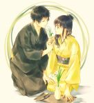 1boy 1girl bangs black_hair black_kimono blue_eyes blue_hair chrome_dokuro clippers closed_mouth commentary_request eyepatch flower half_updo hand_on_another's_leg hetero hibari_kyouya highres holding_hands japanese_clothes katekyo_hitman_reborn kimono kpastelblue long_hair long_sleeves looking_at_another sitting smile tray vase white_flower yellow_kimono