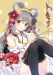 1girl animal_ear_fluff animal_ears bare_shoulders black_legwear brown_eyes chinese_zodiac detached_sleeves eyebrows_visible_through_hair grey_hair hairband haruna_(kantai_collection) kantai_collection long_hair looking_at_viewer mouse_ears nontraditional_miko shigunyan solo thigh-highs year_of_the_rat yellow_hairband