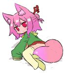 1girl :< alternate_hair_color animal_ear_fluff animal_ears bangs blush borrowed_character brown_collar closed_mouth commentary_request eyebrows_visible_through_hair fox_ears fox_girl fox_tail full_body green_shirt hair_between_eyes kemomimi-chan_(naga_u) long_sleeves no_shoes original pink_hair pleated_skirt red_eyes red_skirt ribbon-trimmed_legwear ribbon_trim sailor_collar shadow shirt skirt sleeves_past_fingers sleeves_past_wrists solo star tail thigh-highs white_background yellow_legwear yellow_sailor_collar